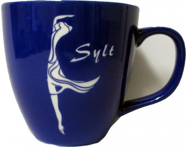 Becher Frauensilhouette groß - Blau