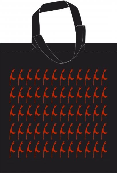 Baumwollbeutel Sylt - Rot auf Schwarz