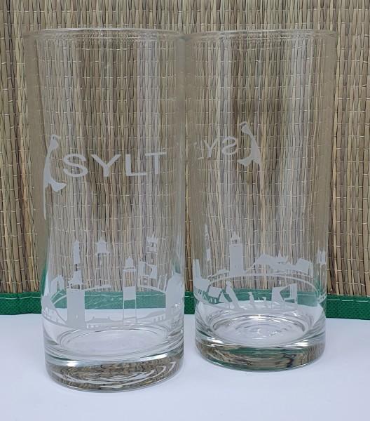 Wasserglas mit Sylt Skyline 1STK